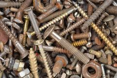 Screw, bolt and nut. Macro shot of old screw nut and bolt royalty free stock photo
