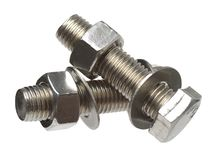 Screw, bolt, stud, nut, washer and spring washer stock photo