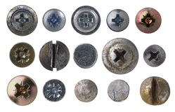 Screw and bolts heads Royalty Free Stock Photos