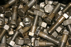 Screw-bolts and nuts Royalty Free Stock Images