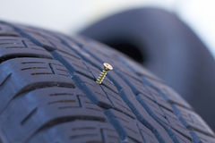 Screw in car tyre - Closeup of nail in tire Royalty Free Stock Photo