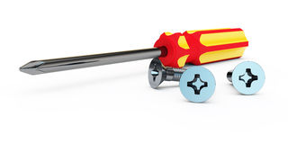 Screw-driver. With a cross with the red-yellow handle and bolts lie on a white background Stock Photos