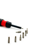 Screw-driver with nozzles. On a white background Stock Image