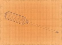 Screw Driver - Retro Blueprint. Shoot of the Screw Driver - Retro Blueprint Stock Images