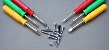 Screw driver set with fasteners Stock Photography