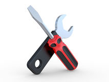 Screw-driver and wrenc Stock Images
