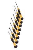 Screw-drivers. Some screw-drivers standing in a row isolated aganist white background royalty free stock photo