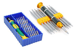 Screw-drivers. Sets of screw-drivers for special works isolated on white background royalty free stock photo