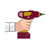 Screw Gun Icon. Human hand with impact wrench or screwgun. Electric screwdriver in male hand. Blank and white Stock Photography
