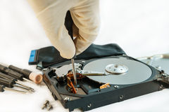 Screw hard disk drive to repair for recovery information Stock Images