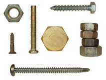 Screw heads, bolts, steel nuts Royalty Free Stock Photos