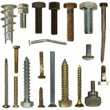 Screw heads, bolts, steel nuts Royalty Free Stock Images