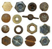 Screw heads, bolts, steel nuts,old metal nail, Stock Photos