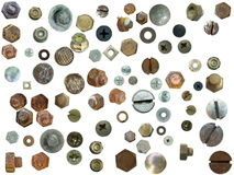 heads, bolts, steel nuts,old metal nail, Royalty Free Stock Photos