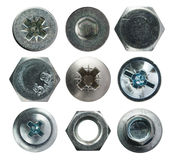 Screw heads collection on white Royalty Free Stock Photography