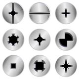 Screw heads set Stock Image