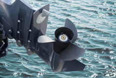 Screw of motor boat. On sea water background Stock Photo