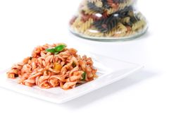 Noodle dish. Noodle and tomato dish over white Stock Images