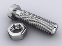 Screw and nut. Close-up of screw and nut on white background - rendered in 3d Royalty Free Stock Photo