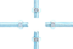 Screw and nut. The screw and nut on a white background Stock Photo