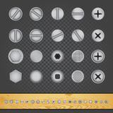 Screw nut bolt nail template. On gray transparent and wood background stock illustration