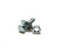 Screw nut, head bolt and washer Royalty Free Stock Images