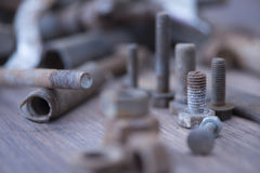 Screw and Nuts. Rusty screw and nuts, corrosion bolt Stock Photo