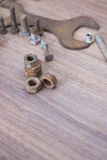 Screw and Nuts. Rusty screw and nuts, corrosion bolt Royalty Free Stock Photography