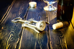 Screw opener for the wine Stock Images