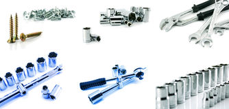 Screw, Screw-nuts And Spanners Isolated Royalty Free Stock Images