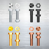 Screw set on a metal background. Stock Image