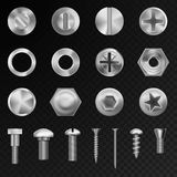 Vector steel bolts nuts and metal rivet screwing chrome head bolts construction elements illustration. Set vector steel bolts nuts and metal rivet screwing stock illustration