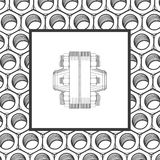 Screw. Vector illustration black and white drawing Stock Photography