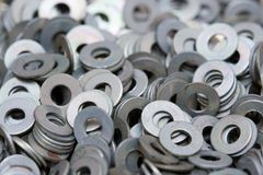 Screw washers. Macro of industrial screw washers Royalty Free Stock Images