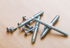 Screw on wood Royalty Free Stock Photo