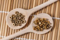 Screw on wooden spoon slant Stock Images