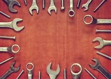 Screw and wrenches frame. Stock Image
