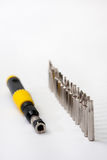 Screwdriver with accessories Royalty Free Stock Photos