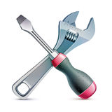 Screwdriver and adjustable wrench, realistic vector Stock Photography
