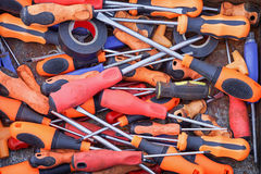 Screwdriver. Big bunch of screwdrivers with plastic handles Royalty Free Stock Photos