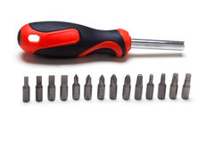 Screwdriver bit set and handle Stock Photo