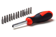Screwdriver bit set and handle Royalty Free Stock Photos
