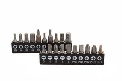 Screwdriver Bit Set on White with Clipping Path Royalty Free Stock Image
