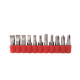 Screwdriver bits set over white isolated background Stock Images