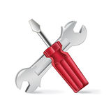 Screwdriver and corkscrew  Royalty Free Stock Images