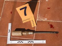 Free Screwdriver Crime Weapon On The Ground, Numbering In Evidence Stock Image - 185057251