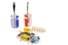 Screwdriver diy electronic components Royalty Free Stock Photos