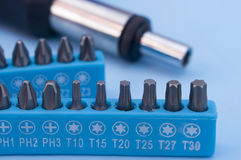 Screwdriver drill bits. Hand screwdriver with drill bits set Stock Photos