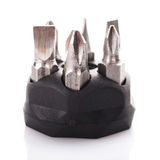 Screwdriver drill bits. On white Stock Photos