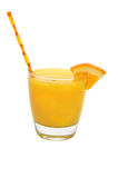 Screwdriver Drink, Orange Wedge, Swizzle Stick. Screwdriver cocktail drink with orange wedge and swizzle stick.  Isolated on white background with clipping path Stock Image